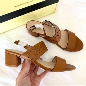 "Tan laser cut Restricted ""Tayla"" block heel sandal"